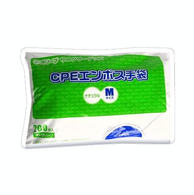オリーブ本舗オリジナル【オリーブCPEエンボス手袋】Mサイズ 200枚