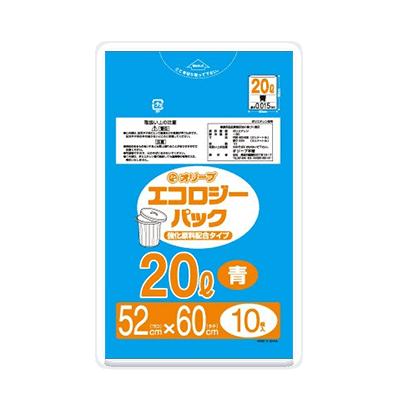 オリーブ本舗オリジナル【オリーブ エコロジーパック0.015mm 20Lゴミ袋】10枚