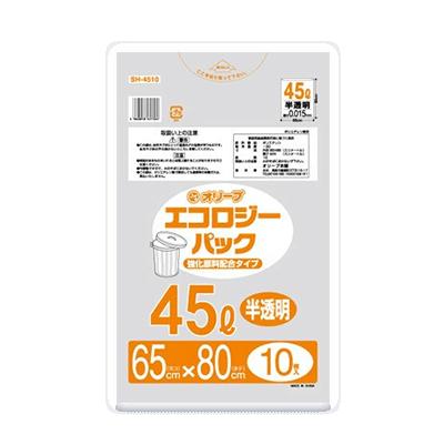 オリーブ本舗オリジナル【オリーブ エコロジーパック0.015mm 45Lゴミ袋】10枚