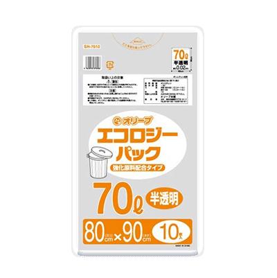 オリーブ本舗オリジナル【オリーブ エコロジーパック0.02mm 70Lゴミ袋】10枚