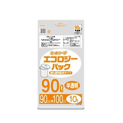 オリーブ本舗オリジナル【オリーブ エコロジーパック0.025mm 90Lゴミ袋】10枚