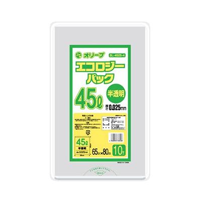 オリーブ本舗オリジナル【オリーブ エコロジーパック0.025mm  45Lゴミ袋】10枚