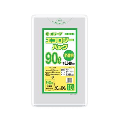オリーブ本舗オリジナル【オリーブ エコロジーパック0.04mm 90Lゴミ袋】10枚